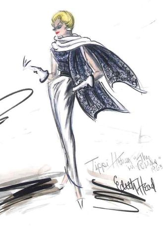 Edith Head sketch for Tippi Hedren in Alfred Hitchcock's The Birds (1963