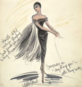 Edith Head sketch for Zizi Jeanmaire in Anything Goes (1956)
