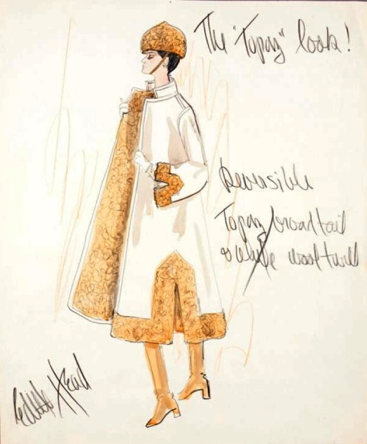 Edith Head sketch marked %22The Topaz Look%22 for Alfred Hitchcock's Topaz (1969)