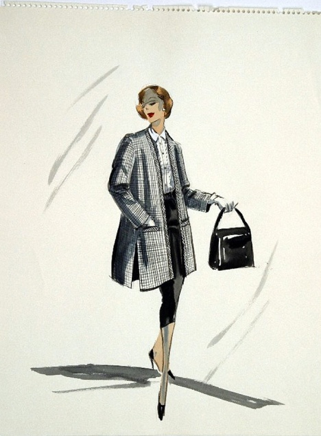 Edith Head sketch possibly for a model in Funny Face (1957)