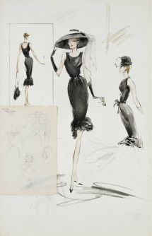 Edith Head sketching Givenchy for Breakfast at Tiffany's