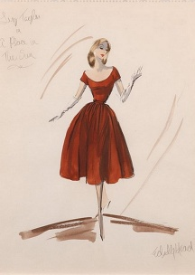 Illustration - Edith Head Sketch for Elizabeth Taylor in %22A Place in the Sun%22 1951