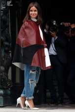 Miroslava Duma arrives to attend the Atelier Versace Fall Winter 2014-15 Haute Couture fashion collection, Sunday, July 6, 2014, in Paris. (AP Photo/Thibault Camus)